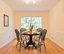 The function of the room is defined after staging as a breakfast room.